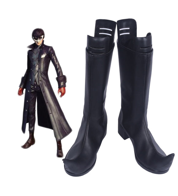 Persona 5 Protagonist Joker Cosplay Boots Leather Shoes Custom Made Black