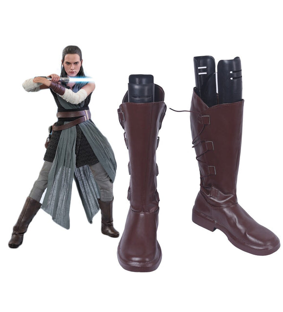 Star Wars 8 The Last Jedi Rey Cosplay Boots Brown Shoes Custom Made