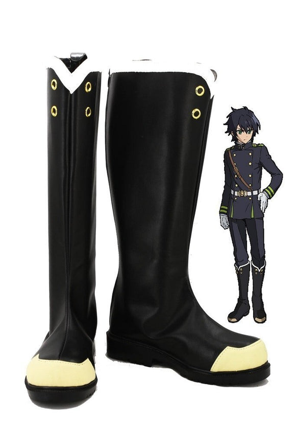Seraph of the End Yuichiro Hyakuya Hiiragi Shinoa Cosplay Boots Black Shoes Custom Made