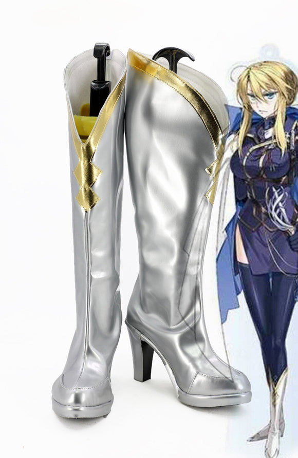 FGO Fate Grand Order Arturia Pendragon Cosplay Boots Silver Shoes Custom Made