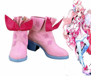 ELSWORD Laby 2nd Path Cosplay Boots Pink Shoes Custom Made for Unisex Any Size