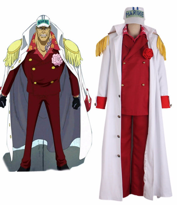 One Piece Red Dog Akainu Sakazuki Navy Admiral Uniform Cosplay Costume