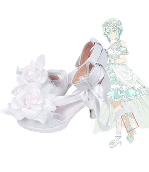 Sword Art Online Asada Shino Wedding Shoes Cosplay High Heel Boots White Custom Made