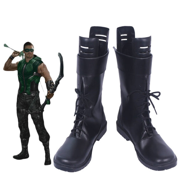 Green Arrow Oliver Queen Cosplay Boots Black Shoes Custom Made