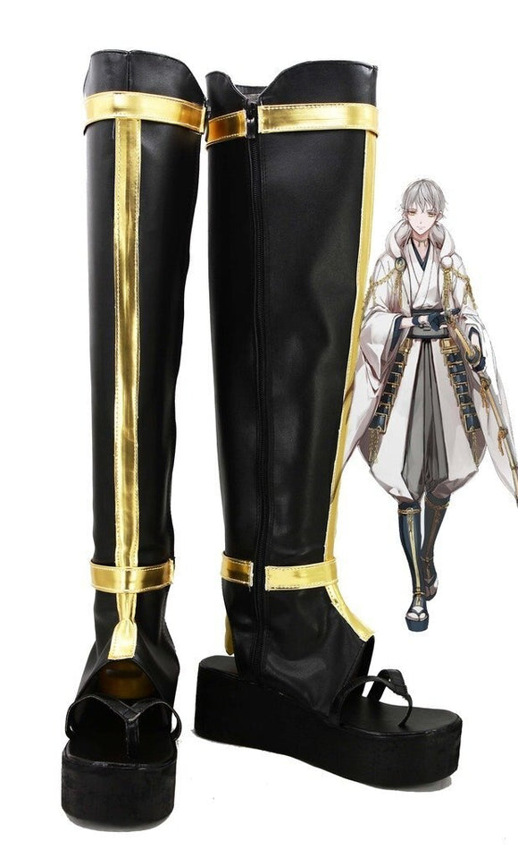 Touken Ranbu Online Tsurumaru Kuninaga Cosplay Shoes Black Boots Custom Made