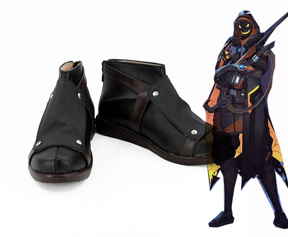 Overwatch OW Ghoul Ana Cosplay Boots Leather Shoes Custom Made Any Size