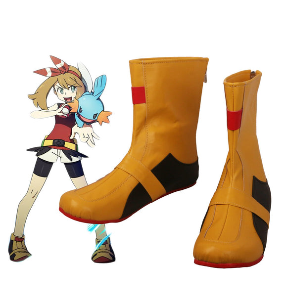 Pokemon Princess of Hoenn May Cosplay Boots Yellow Shoes Custom Made Any Size