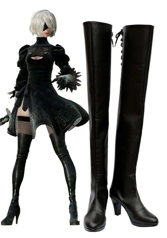 NieR: Automata 2B Cosplay Boots Black Shoes High Heel Boots Custom Made