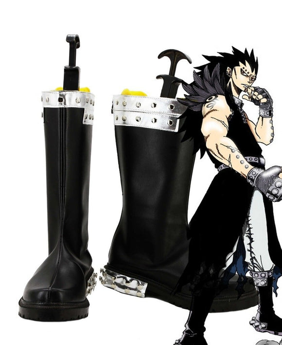 Fairy Tail Gajeel Reitfox Cosplay Boots Black Shoes Custom Made