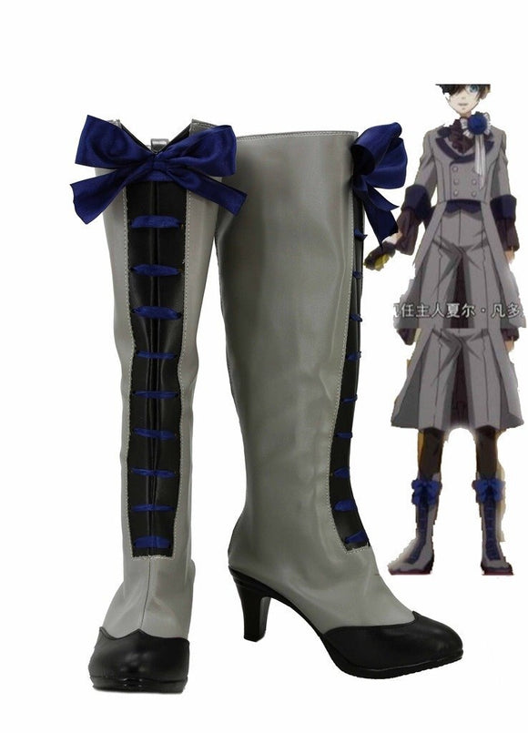 Black Butler 3 Kuroshitsuji Ciel Cosplay Boots Grey Shoes Custom Made