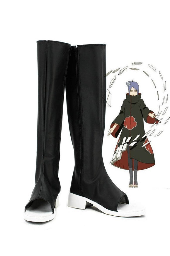 Naruto Konan Cosplay Boots Black Shoes Custom Made