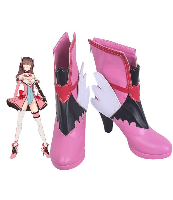 Overwatch OW Hana Song D.Va Cosplay Boots Pink Shoes Custom Made Any Size
