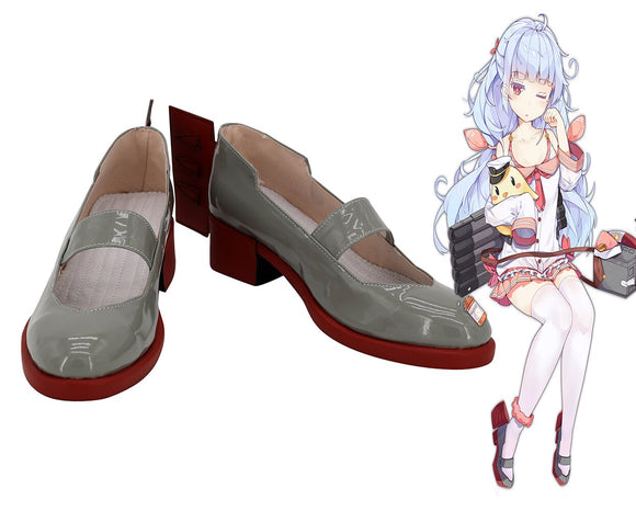 Azur Lane USS Nicholas Cosplay Shoes Grey Boots Custom Made Any Size