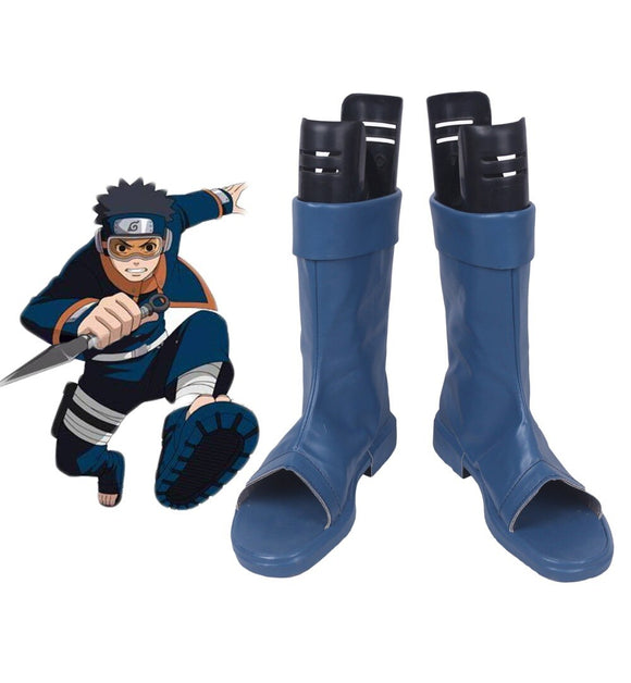 Naruto Shippuden Uchiha Obito Cosplay Boots Blue Shoes Custom Made Any Size