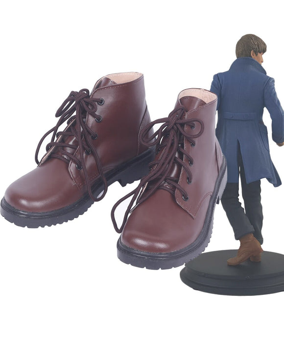 Fantastic Beasts and Where to Find Them Newt Scamander Cosplay Boots Brown Shoes Custom Made