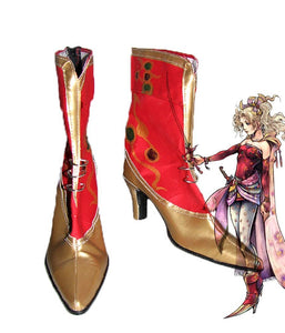 FF6 Dissidia Final Fantasy Terra Branford Cosplay Shoes Red Boots High Heel