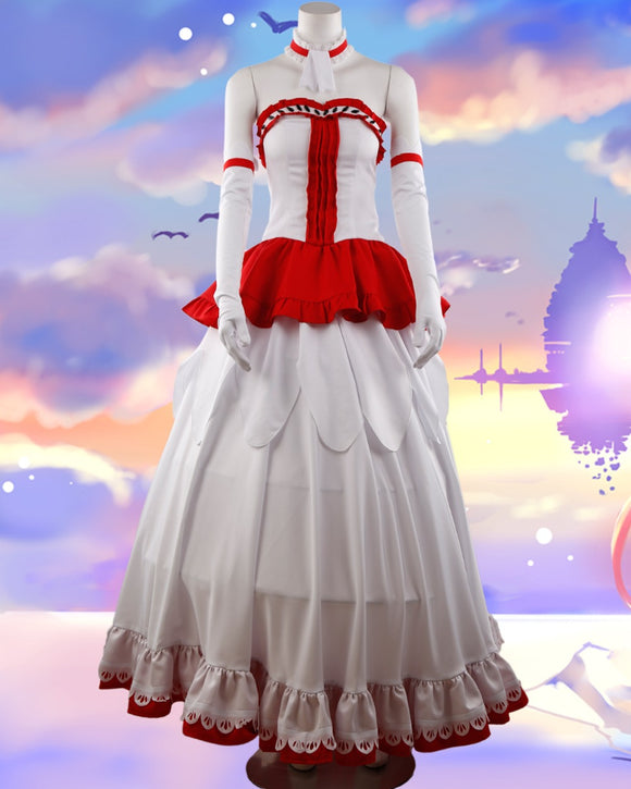 Sword Art Online Game SAO Yuuki Asuna Wedding Dress Cosplay Costume Custom Made