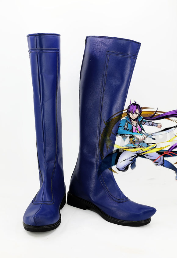 Magi The Labyrinth of Magic Sinbad Cosplay Boots Blue Shoes Long Boots Custom Made