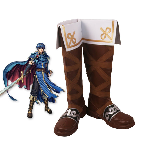 Fire Emblem Marth Cosplay Boots Brown Shoes Custom Made for Men and Women Any Size