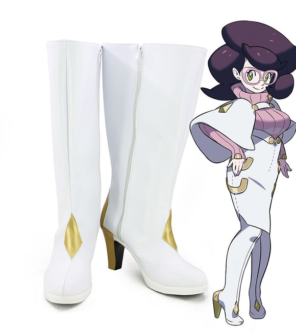 Pocket Monster Pokemon Wicke Cosplay Boots White High Heel Shoes Custom Made