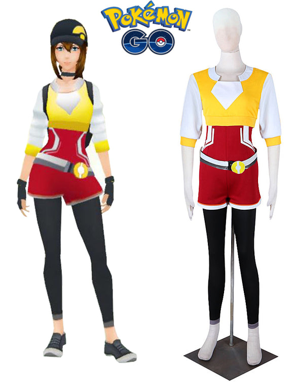 Pocket Monster Pokemon GO Team Female Trainer Yellow Uniform Cosplay Costume