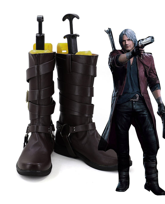 Devil May Cry Dante Cosplay Boots Brown Shoes Halloween Carnival Cosplay Shoes Custom Made Any Size