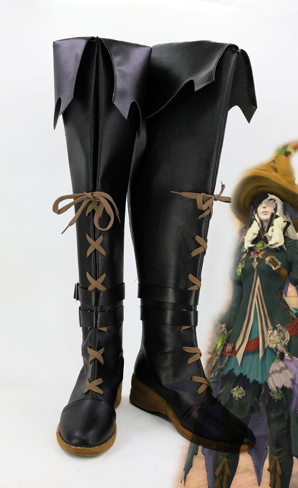 Final Fantasy XIV BLACK MAGE Cosplay Boots Black Shoes Custom Made
