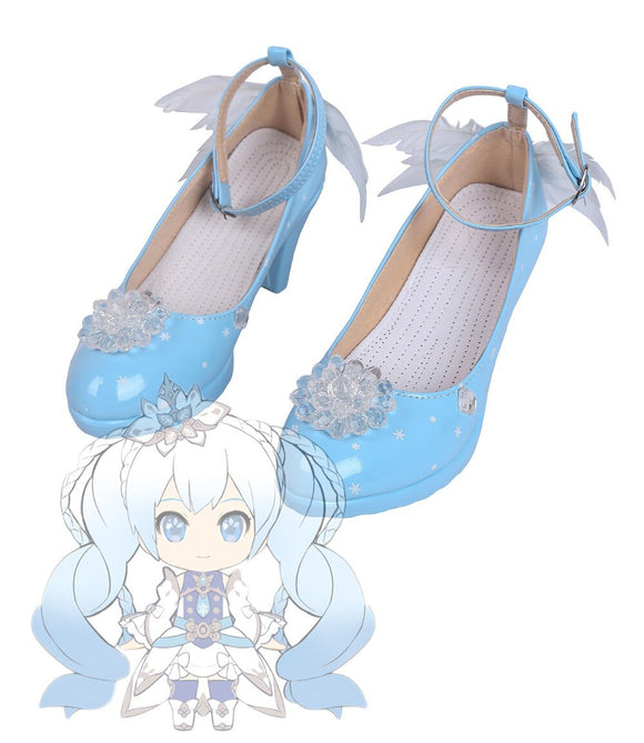 VOCALOID Snow Miku 2019 Cosplay Boots Snow Shoes Custom Made