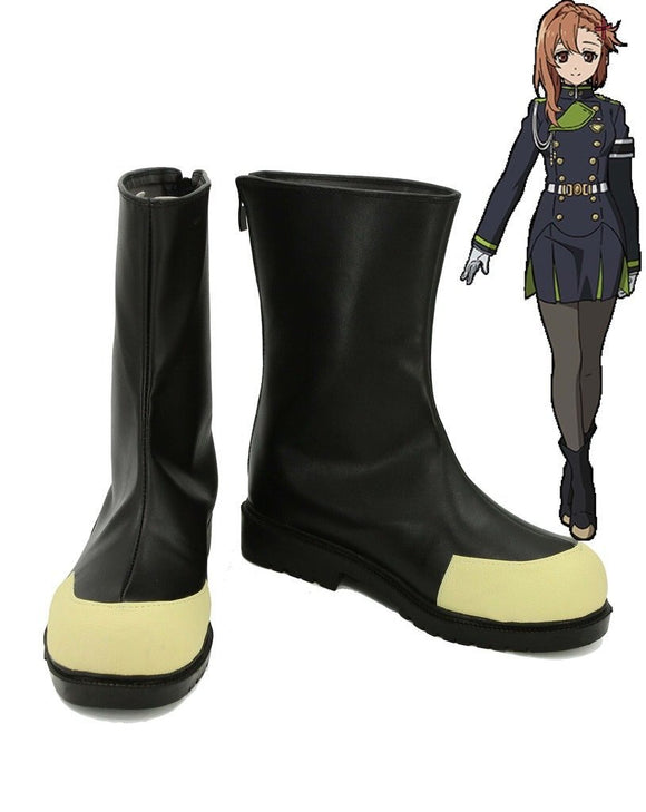 Seraph of the End Sayuri Hanayori Cosplay Shoes Leather Boots Custom Made