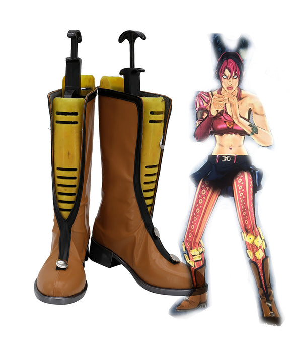 JoJo's Bizarre Adventure Jolyne Cujoh Cosplay Boots Brown Shoes Customized Long Boots for Boys and Girls