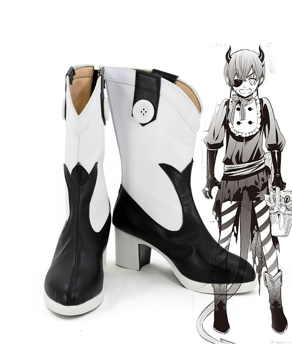 Kuroshitsuji Black Butler Ciel Phantomhive Halloween Cosplay Boots Leather Shoes Custom Made