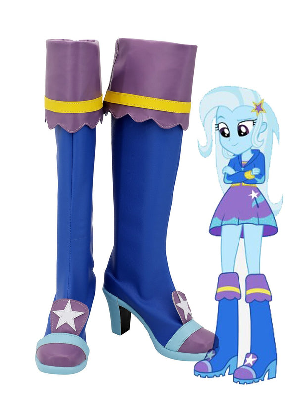 My Little Pony Equestria Girls Trixie Cosplay Boots High Heel Blue Shoes Custom Made for Girls Halloween Party Cosplay