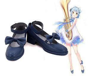 Kantai Collection Fubuki Music Pixy Cosplay Shoes Blue Boots Custom Made