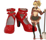 Fate Grand Order FGO Mordred Red Shoes Cosplay Customized High Heel Boots