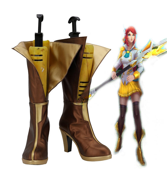 League of Legends LOL Luxanna Crownguard Prestige Edition Cosplay Boots Golden Shoes Custom Made