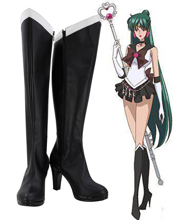 Sailor Moon Meiou Setsuna Cosplay Boots Black Shoes High Heel Boots Custom Made Any Size