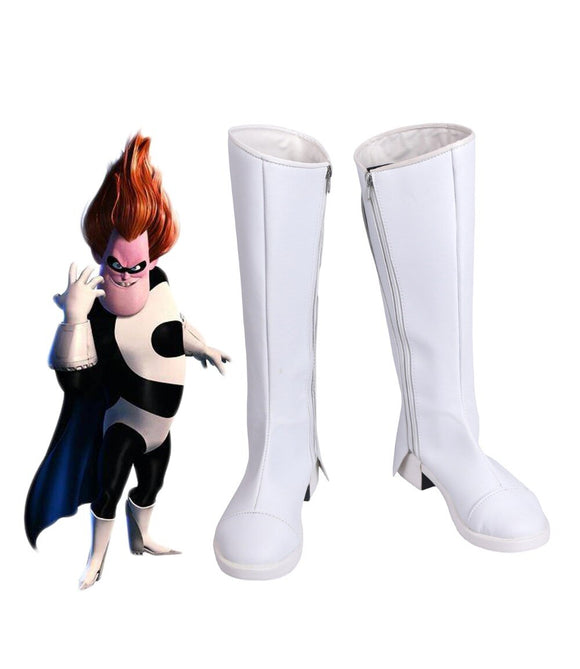 The Incredibles 2 Syndrome Cosplay Boots White Shoes Halloween Carnival Makeup Custom Made