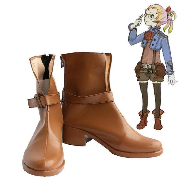 Final Fantasy Crystal Chronicles Althea Cosplay Boots Brown Shoes