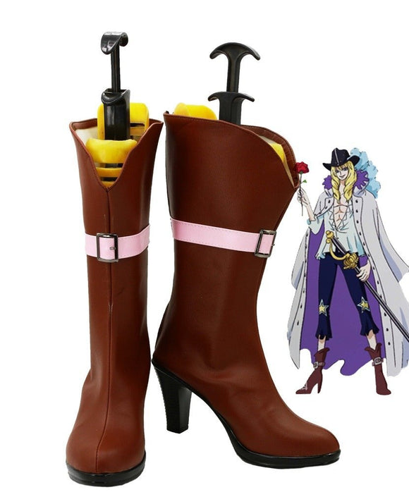 Anime One Piece Cavendish Cosplay Shoes Brown Boots Custom Made