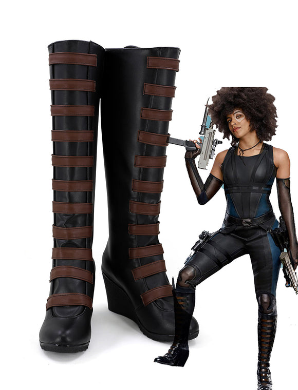 Movie X-Men Deadpool Neena Thurman Domino Cosplay Boots Leather Shoes Custom Made