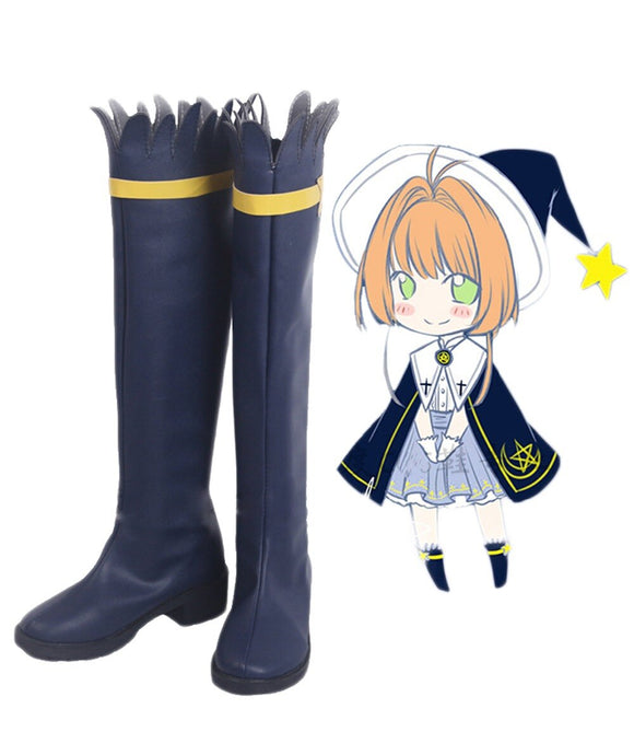 Cardcaptor Sakura Cosplay Boots Blue Shoes Sakura Boots Custom Made Any Size