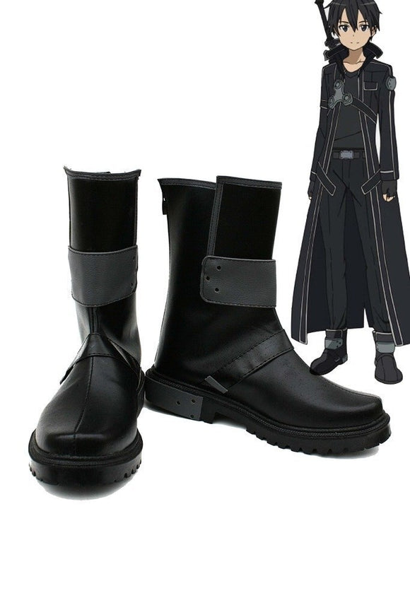 SAO Sword Art Online Kirigaya Kazuto Kirito Cosplay Shoes Black Boots Custom Made