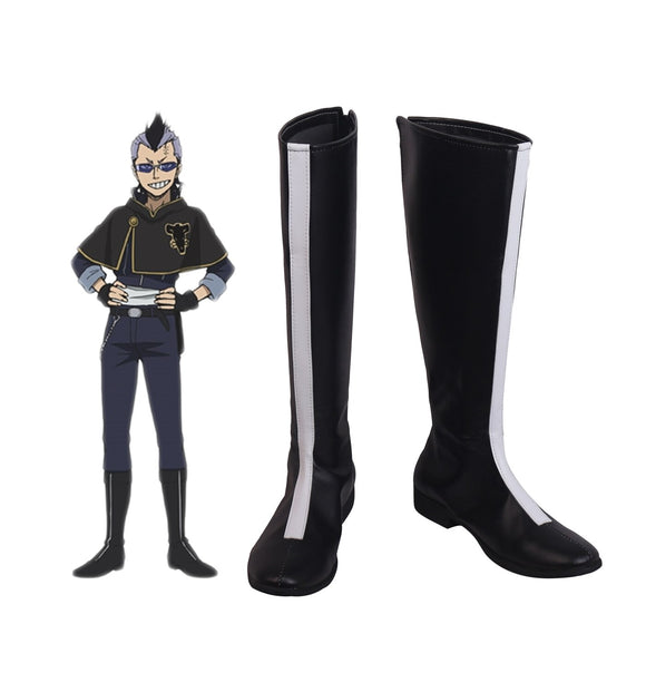 Black Clover Magna Swing Cosplay Boots Black Shoes Custom Made Any Size