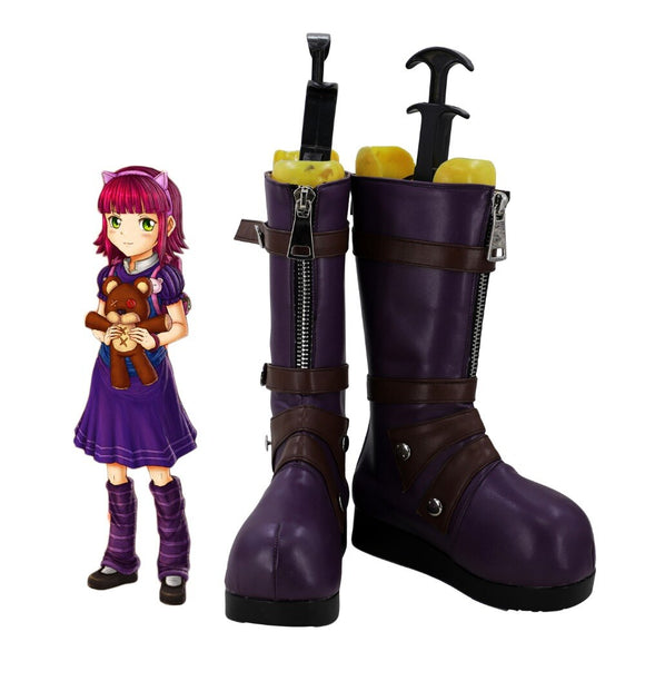 League of Legends LOL Annie Hastur the Dark Child Cosplay Boots Purple Shoes Custom Made
