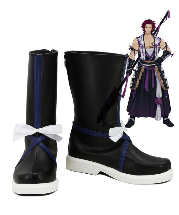 Touken Ranbu Online Tonbokiri Cosplay Shoes Black Boots Custom Made
