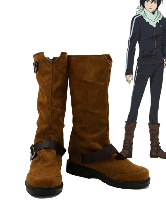 Noragami ARAGOTO Yato Cosplay Boots Brown Shoes Custom Made