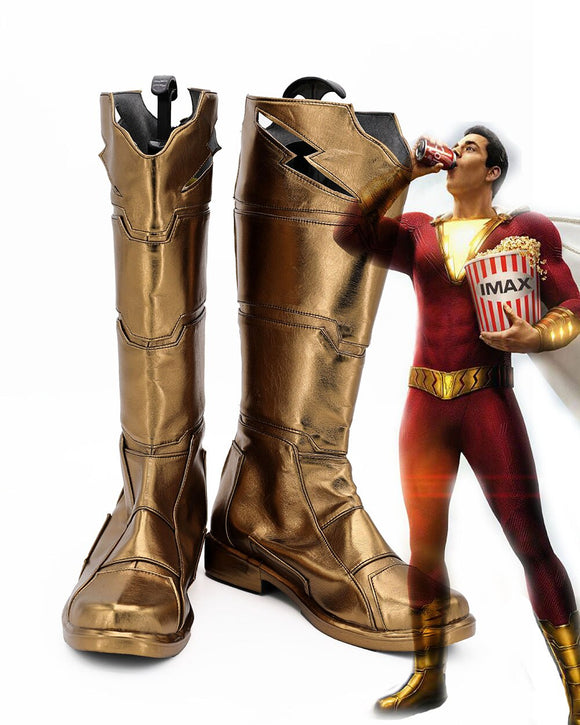 Movie Shazam! Billy Batson Shazam Cosplay Boots Custom Made Captain Marvel Shoes Halloween Party Cosplay