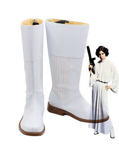 Star Wars Princess Leia Organa Solo Cosplay Boots White Shoes Custom Made