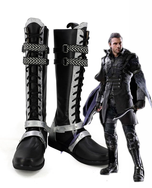 Final Fantasy XV FF15 Nyx Ulric Cosplay Long Boots Black Shoes Custom Made