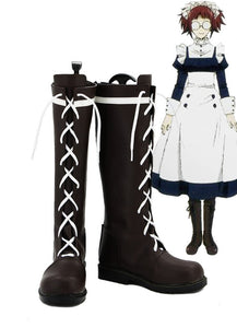 Black Butler Kuroshitsuji Mey Rin Cosplay Boots Brown Shoes Custom Made